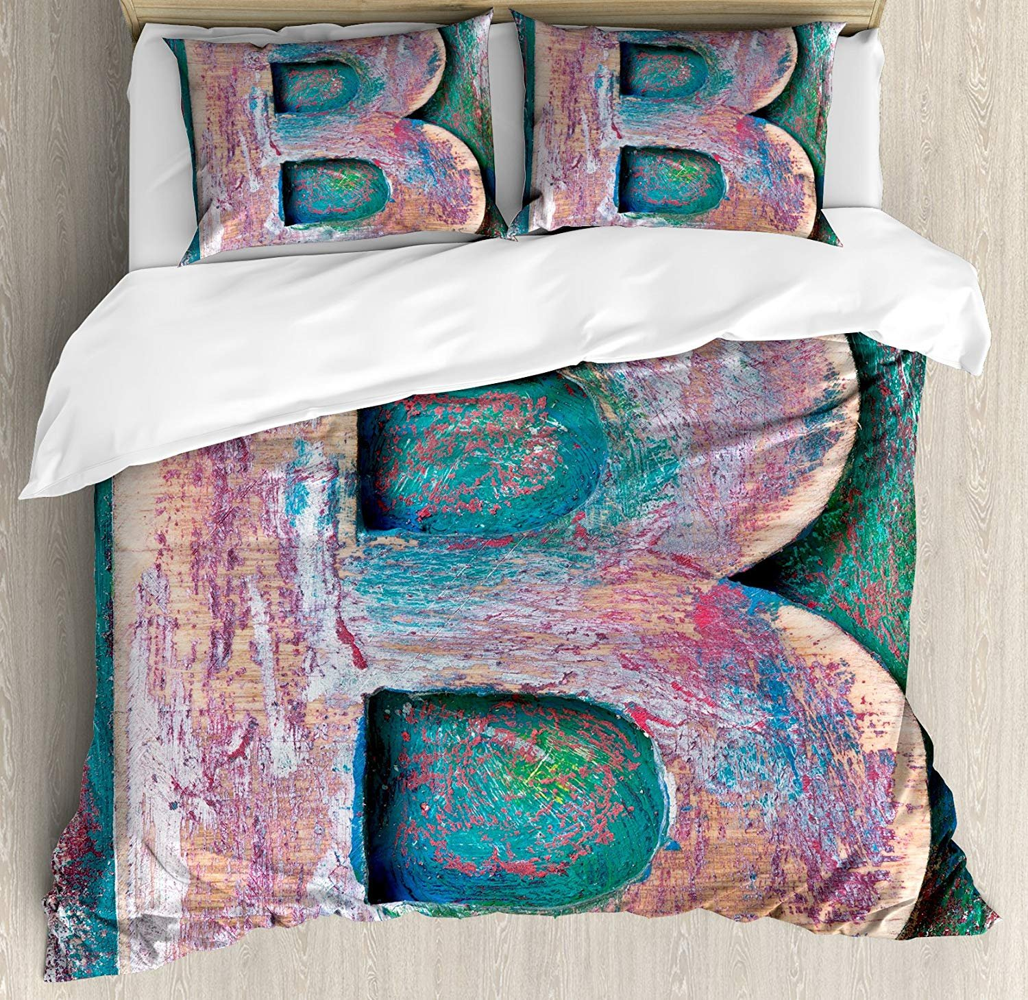 Letter B Twin Duvet Cover Sets 4 Piece Bedding Set Bedspread with 2 Pillow Sham, Flat Sheet for Adult/Kids/Teens, Old Fashioned Print Method Wood Block Alphabet ABC Type Worn Capital B