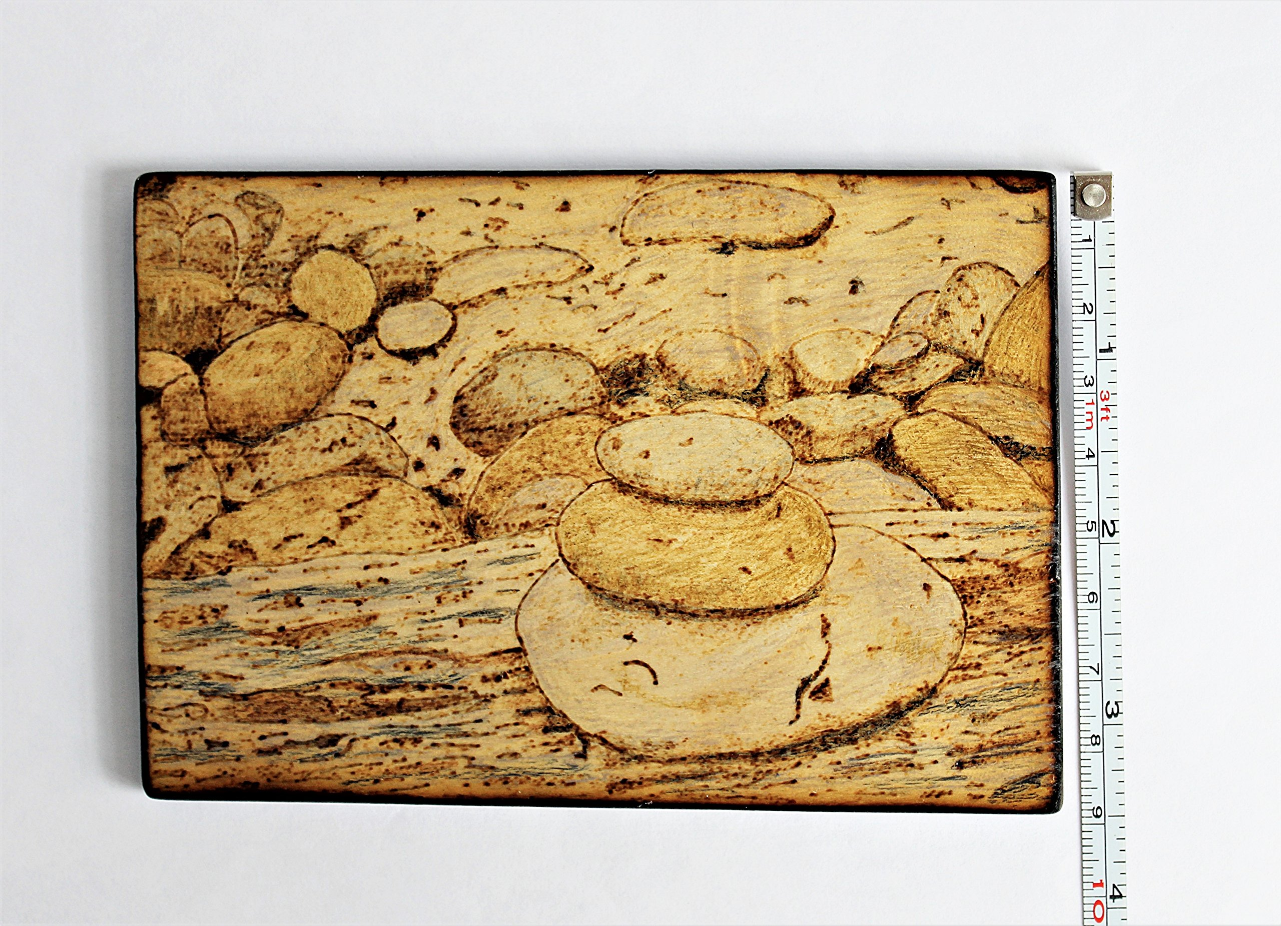 Wood Burned Cairn Stones Pyrography Small Woodburned Nature Rocky Shoreline Picture Desktop Art by Hendywood (Image #7)