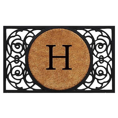 Calloway Mills 180031830H Armada Circle Monogram Doormat, 18 x 30 Letter H