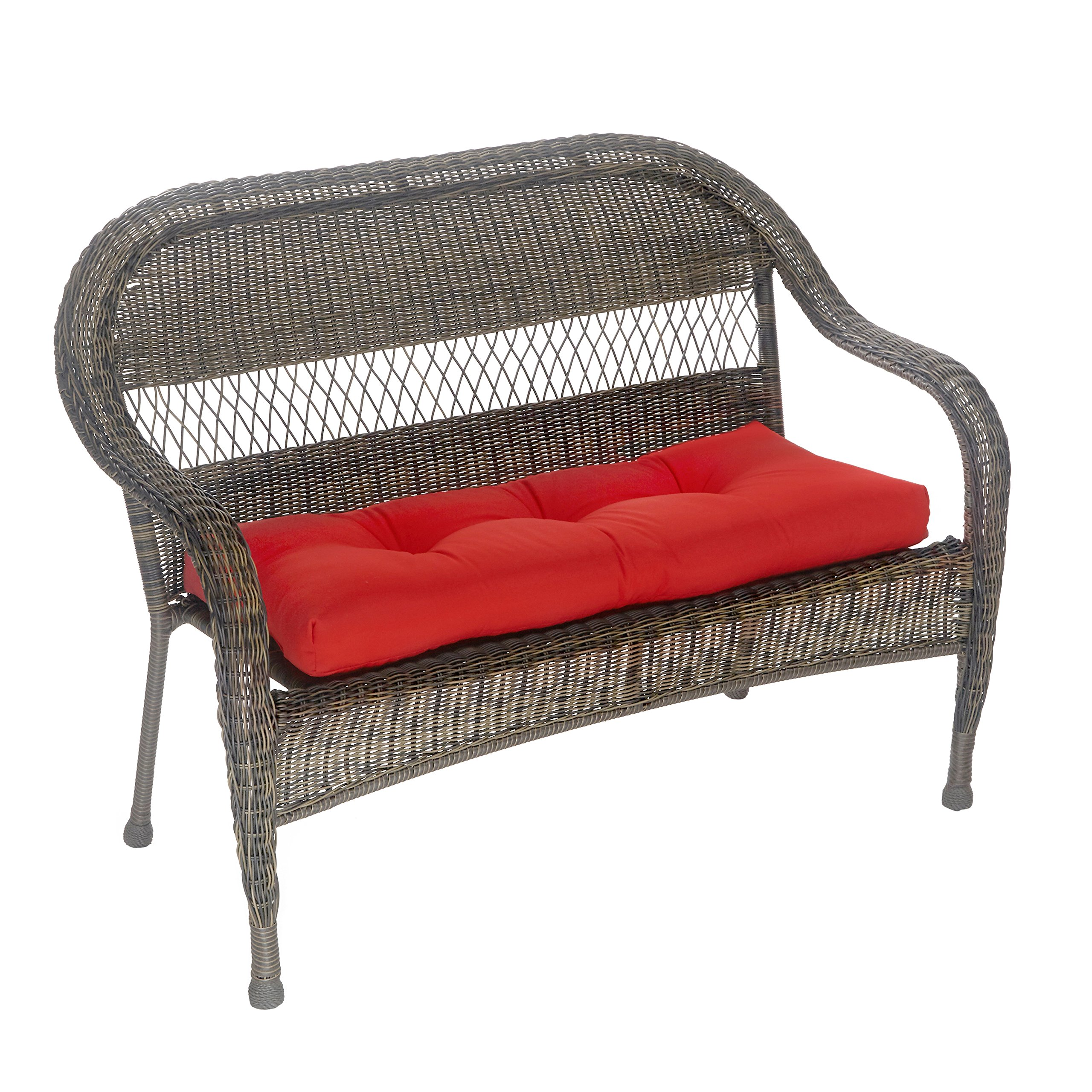 Outdoor Patio Bench Cushion - Solid and Patterns - 43 x 19 x 3 (Solid Red)