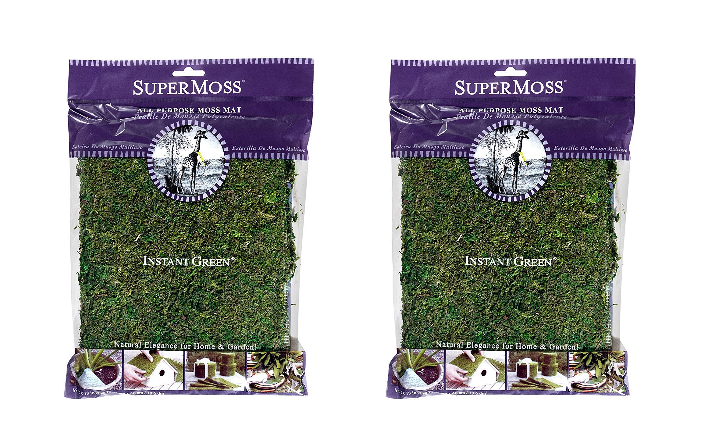 SuperMoss (22420) InstantGreen Moss Mat, Fresh Green, 18 x 16 (1, Тwo Рack) by Super Mos