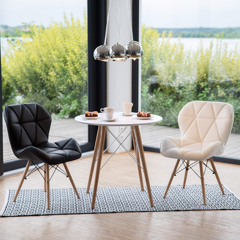 75 x 75 x 75 cm style nordique scandinave table /à manger blanc Relaxdays Table de cuisine petite ronde HxlxP