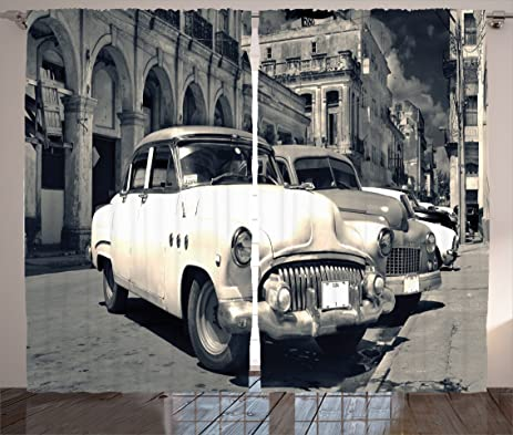 Old Car Decorations Curtains By Ambesonne, Panoramic View Of Shabby Old  Havana Street With Vintage