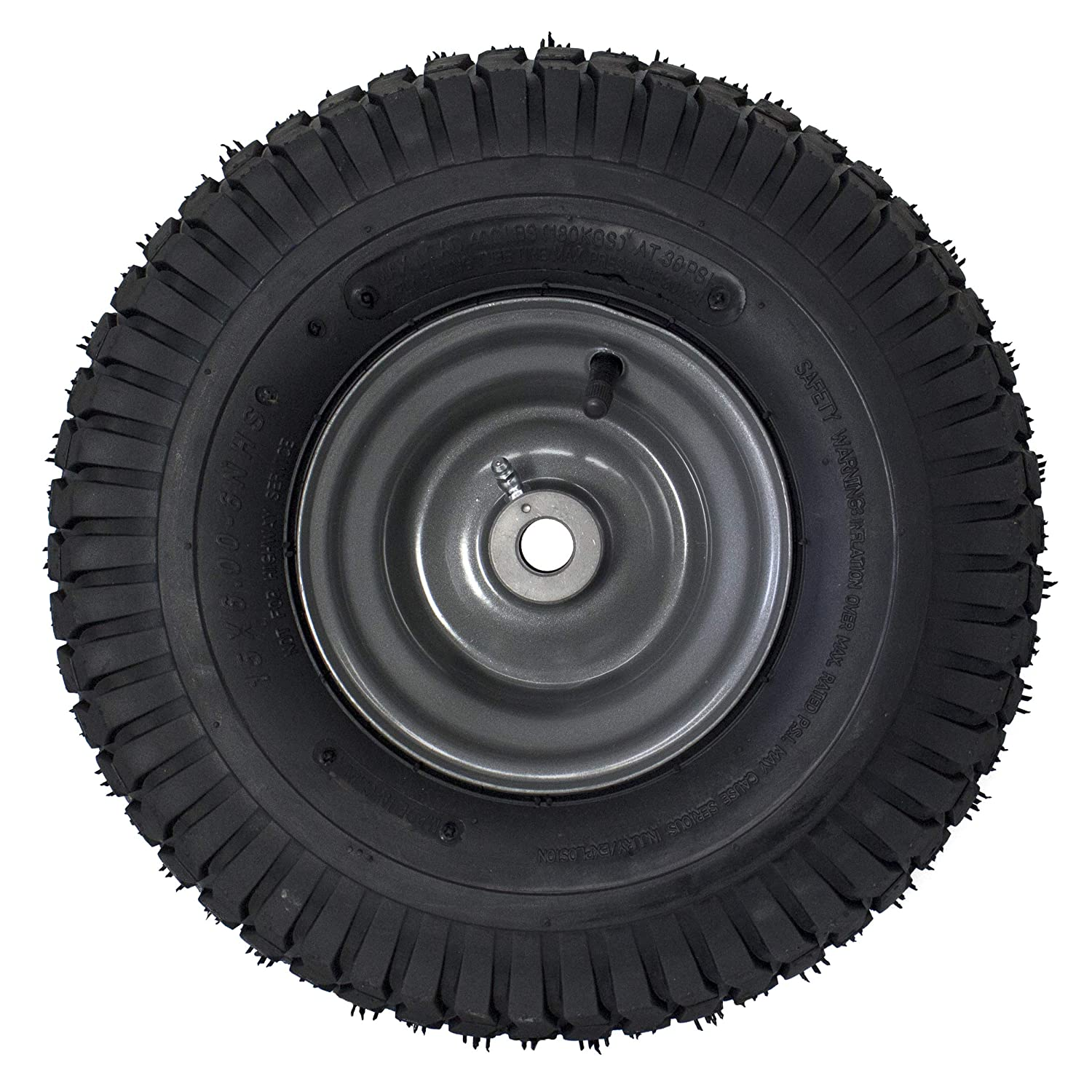 """Amazon.com : MARASTAR 15x6.00-6"""" Front Tire Assembly Replacement for  Craftsman Riding Mowers (21446) : Garden & Outdoor"""