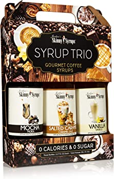 Jordan's Skinny Mixes Sugar-Free With 3 Pack of Salted Caramel, Vanilla, Mocha Classic Coffee Syrup