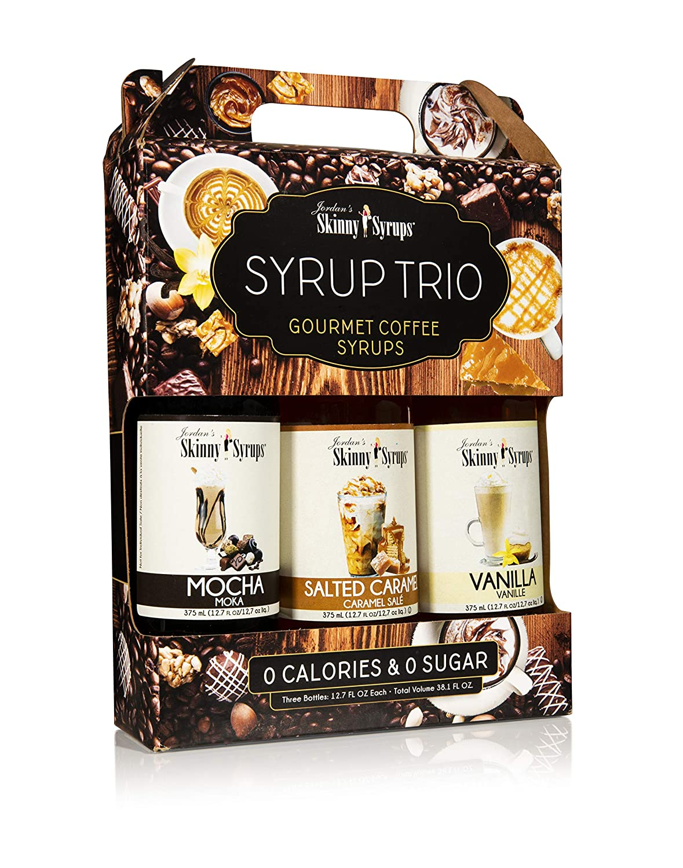 Jordan's Skinny Mixes Classic Coffee Syrup Trio Sugar Free 3 Pack Salted Caramel, Vanilla, Mocha (3) 12.7 oz Bottles