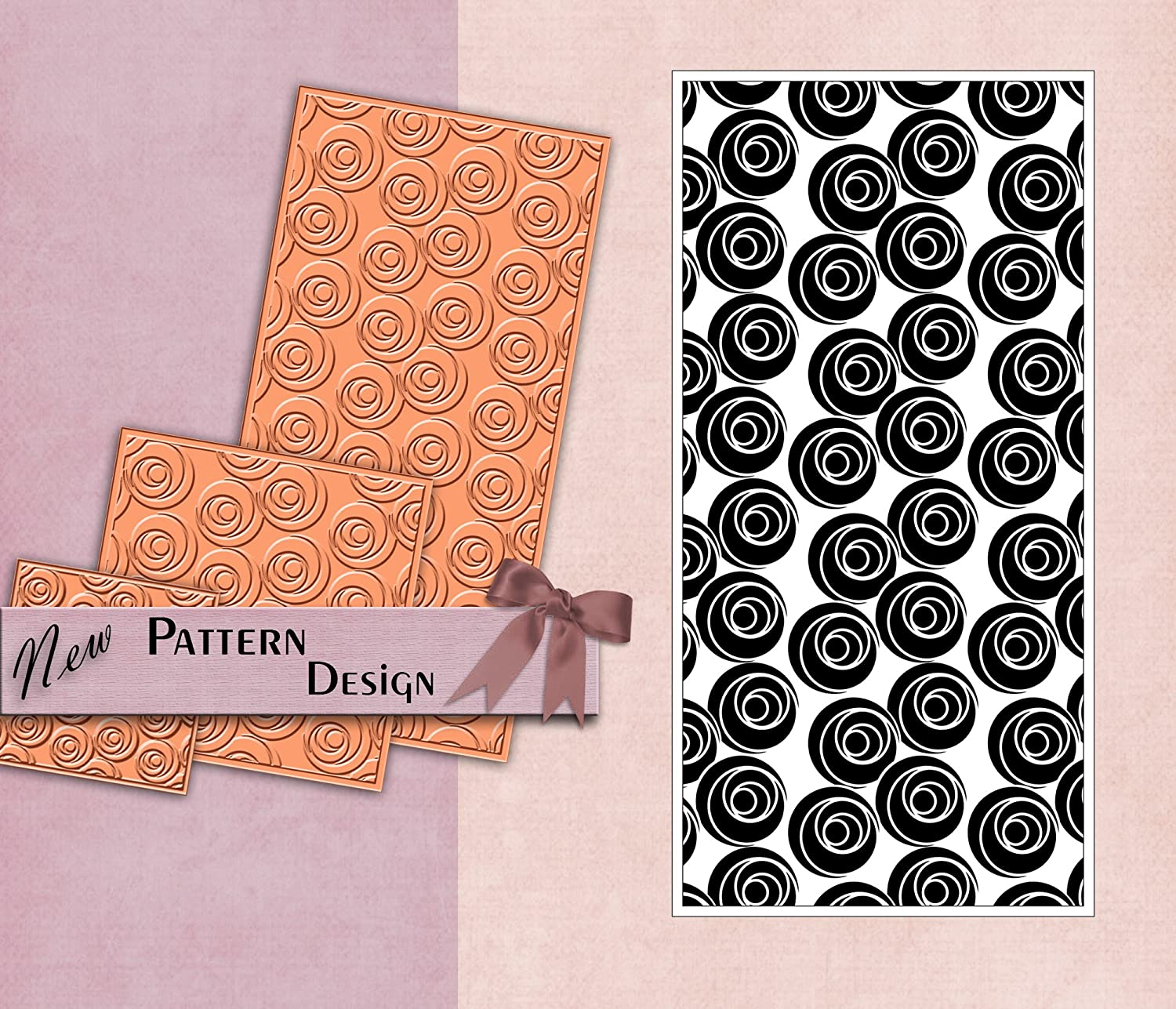 PrintValue Polymer Texture Stamp Flexible Rubber Abstract Circle Pattern Template DIY Craft Supply for Fabric /& Paper