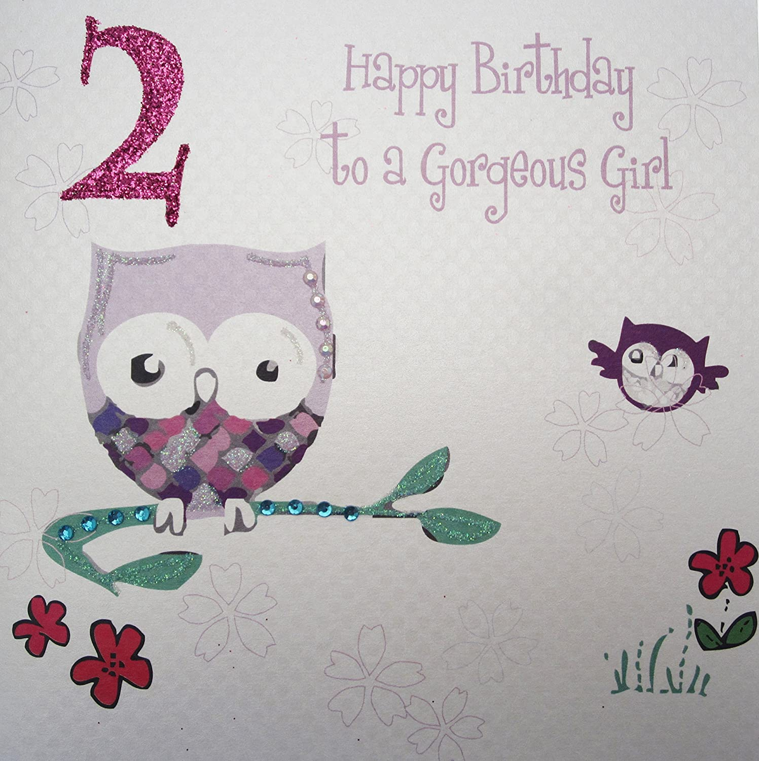 "White Cotton Cards Owl ""Happy Birthday To A Girl"" Handmade 2nd"