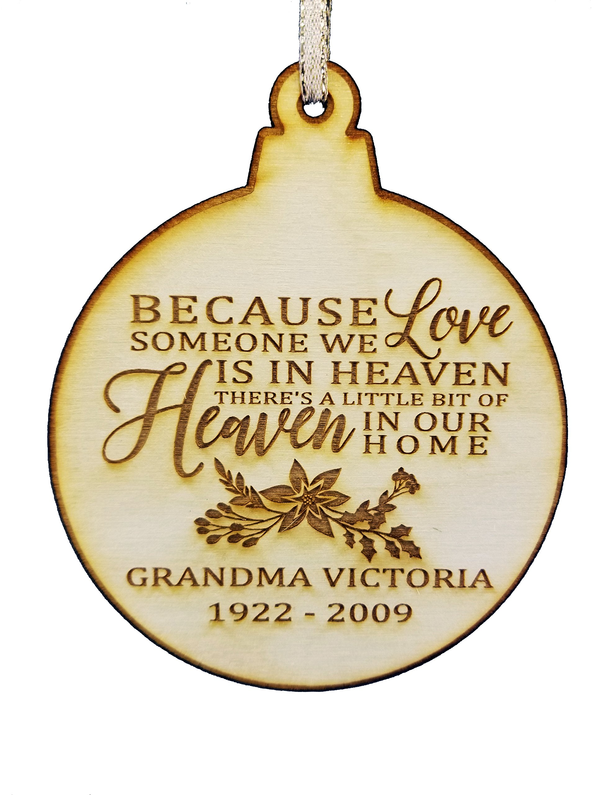 Personalized Memorial Wood Christmas Ornament - Christmas In Heaven - Memorial Gifts - Sympathy Gifts - Loss Of A Loved One - Bereavement