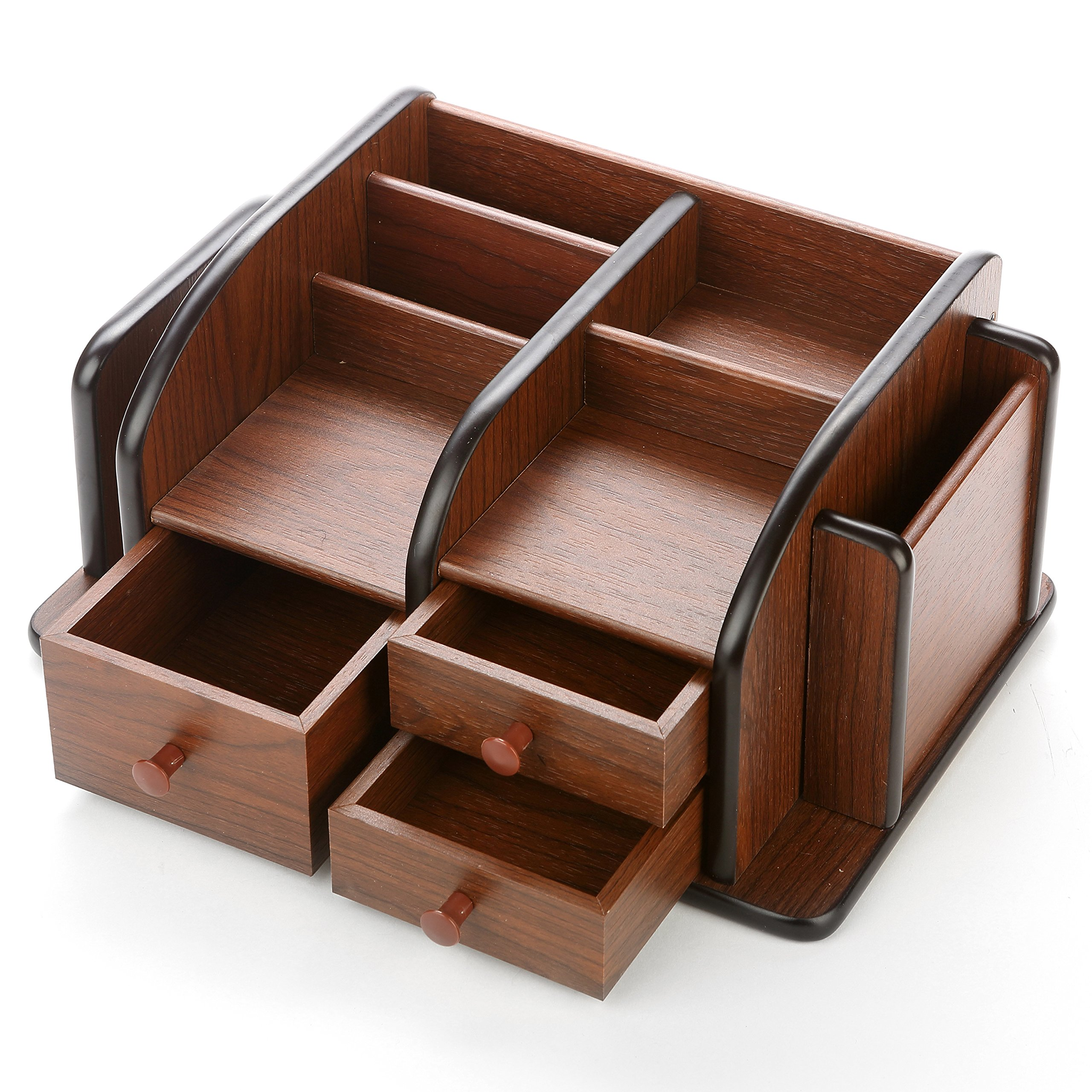 MyGift Classic Brown Wood Office Supplies Desk Organizer Rack with 3 Drawers, 3 Compartments & 2 Shelves