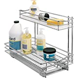 Lynk Professional Slide Out Under Sink Cabinet Organizer - Pull Out Two Tier Sliding Shelf - 11.5 in. wide x 18 inch deep - Chrome - Multiple Sizes Available