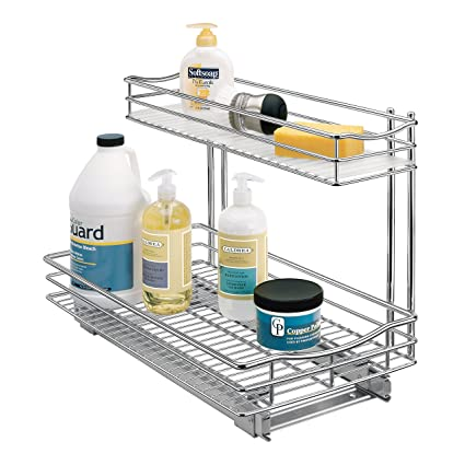 Lynk Professional Slide Out Under Sink Cabinet Organizer   Pull Out Two  Tier Sliding Shelf