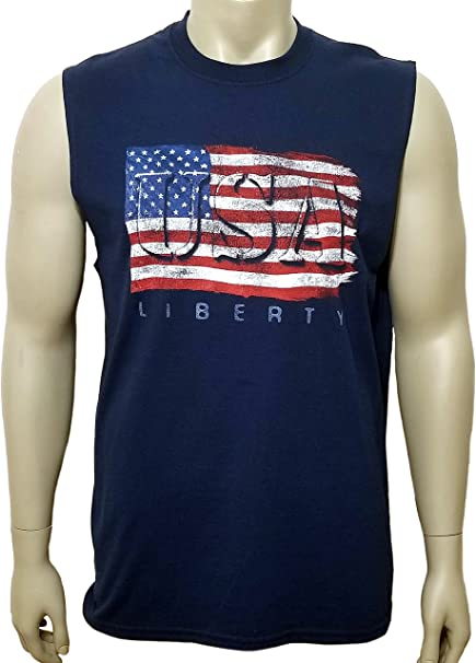 TOOLOUD Distressed Black and White American Flag Dark Muscle Shirt
