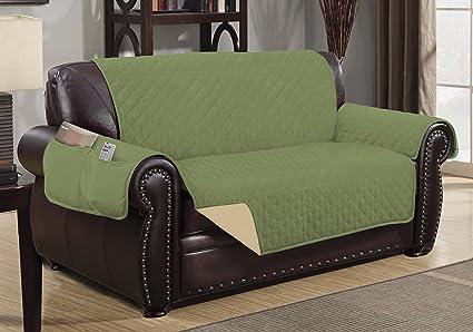 Sofa Guard Deluxe Reversible Loveseat Furniture Pet Protector, Sage / Tan