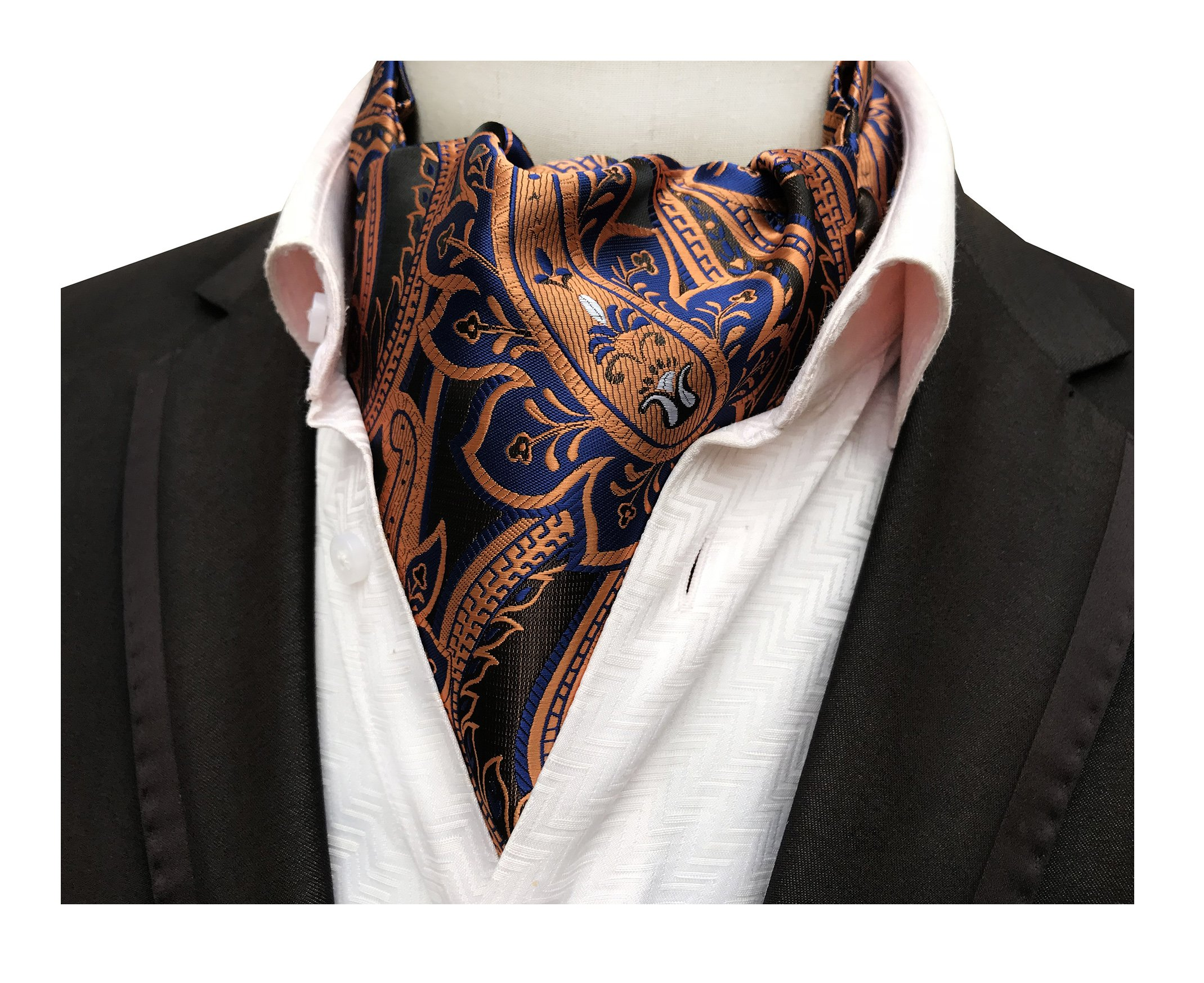 Brass Blue Coppers Cravat Ascot Ties Paisley Patterned for Mens Wedding Banquet