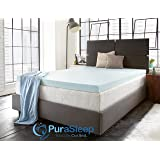 "PuraSleep 3"" Perfect Temp Gel Cooled Memory Foam Mattress Topper – Made In The USA – 3-Year Warranty-TwinXL"