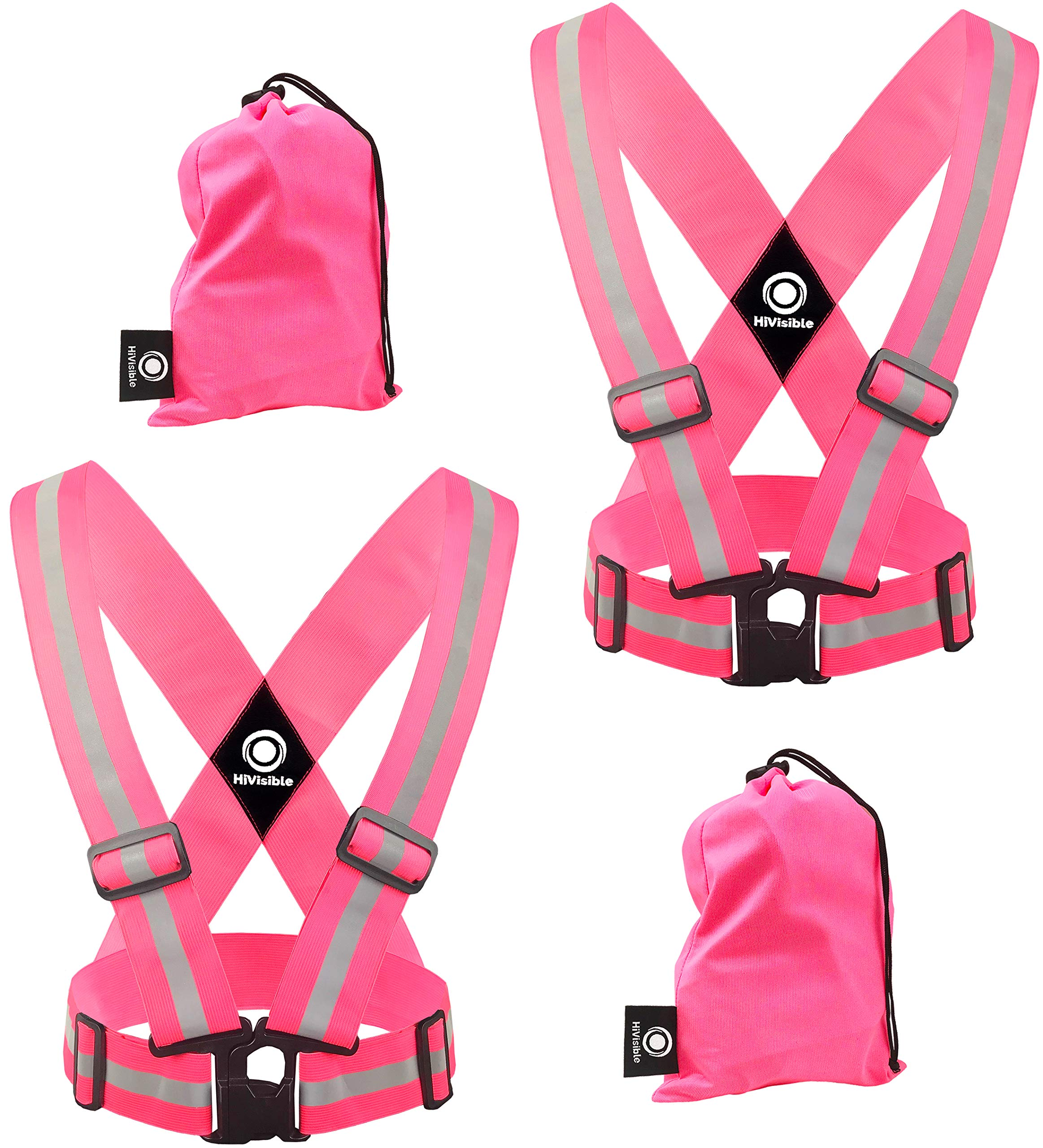 High Visibility Reflective Vest - Safety Reflector Strips Bands - Reflective Running Gear for Men and Women for Night Running, Biking, Walking (2 x Pink Vest)