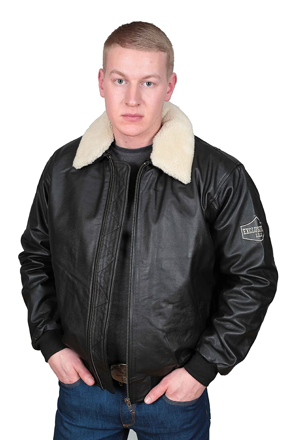 Men's Real Leather Bomber Pilot Jacket Aviator Style - WILL Black