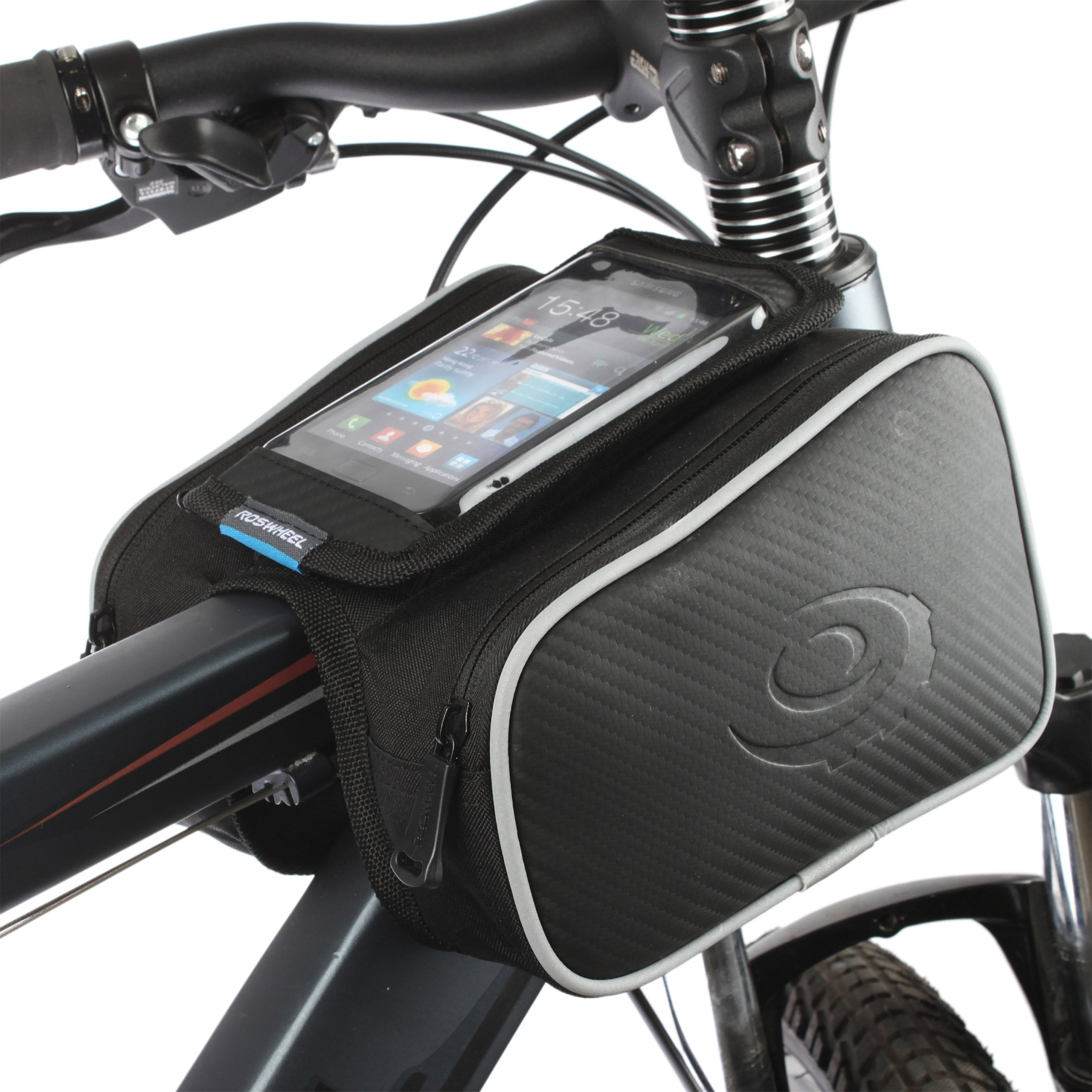 KEMIMOTO Bicycle Bags Front Tube Frame Pannier Bike Storage Bag with Mobile Phone Holder …