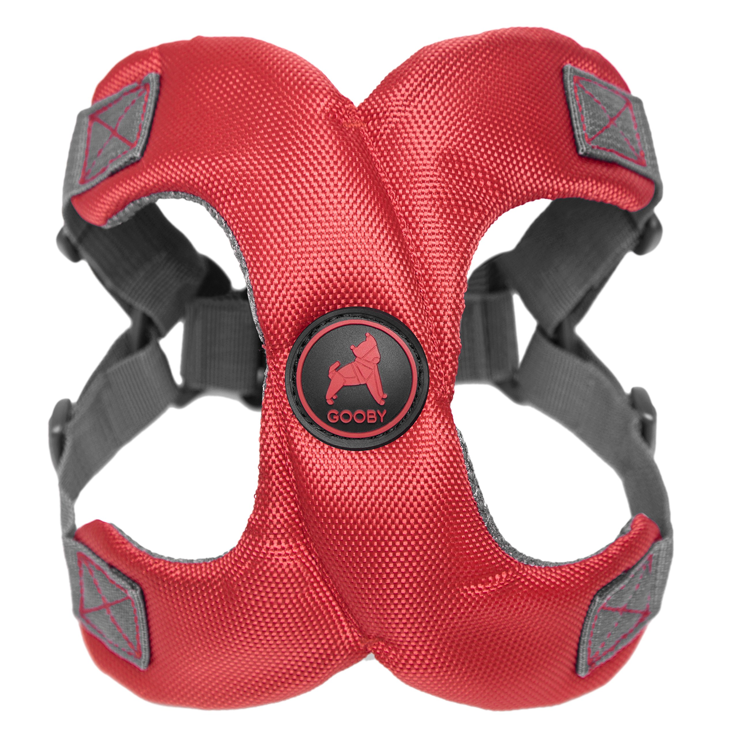 [Old Version] Gooby Escape Free Memory Foam Harness for Small Dogs, Red, Small