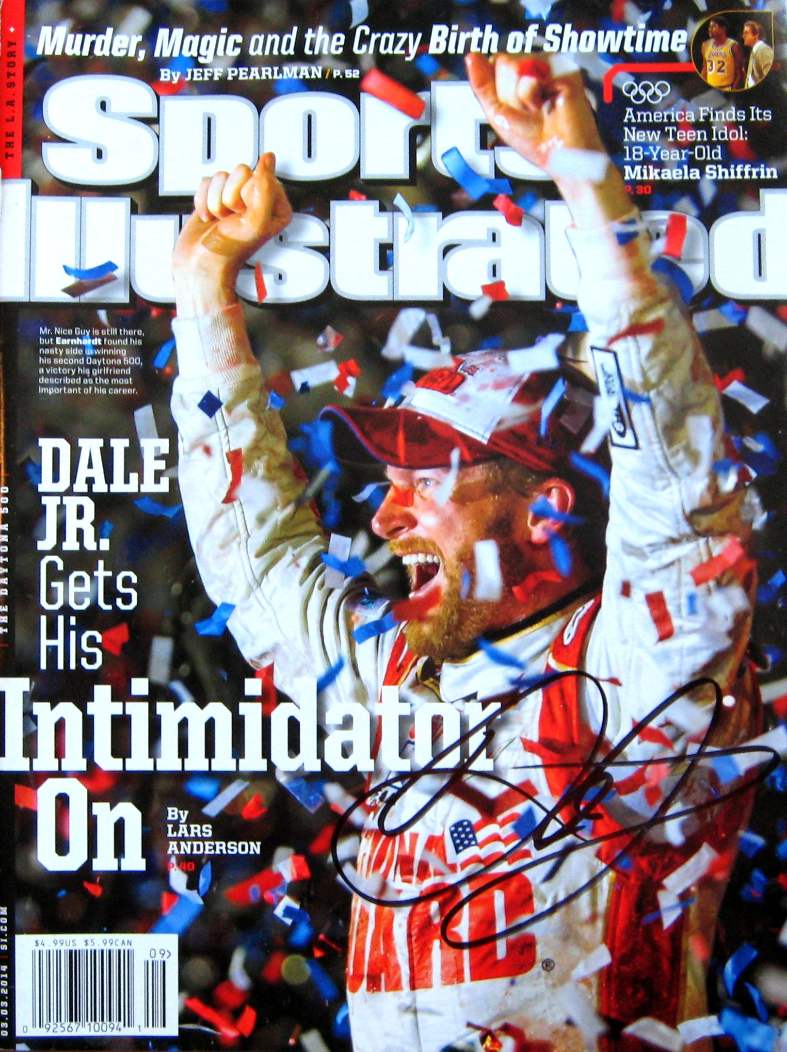 Dale Earnhardt Jr. NASCAR autographed Sports Illustrated Magazine 3/3/14