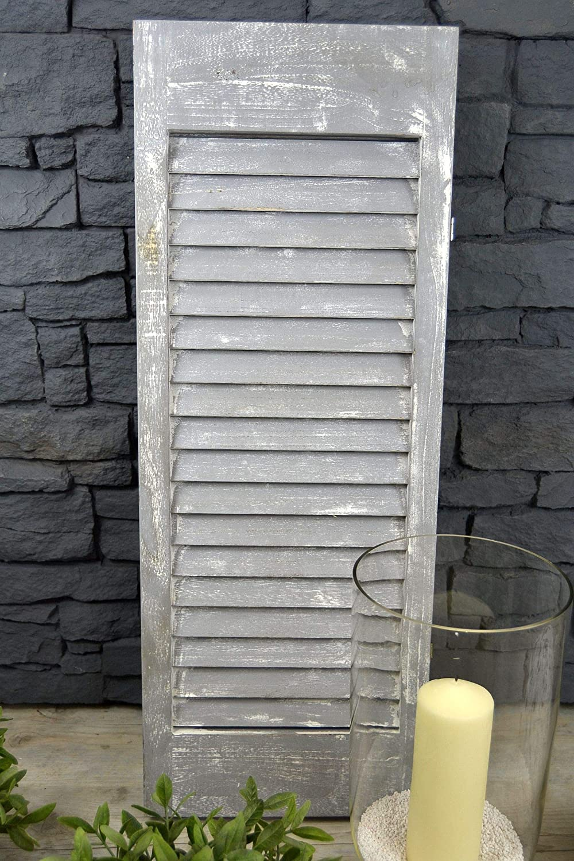 Grau Livitat/® Paravent Fensterladen H81 x B92 cm 3 fl/ügelig Holz Shabby Chic Landhaus Deko LV1069