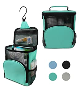 TERRA Home Portable Shower Caddy - College Dorm Room Essentials - Large Capacity, Quick Dry, Mildew and Water Resistant with Metal Hook - Hanging Shower Bag for Gym and Travel (Aqua)