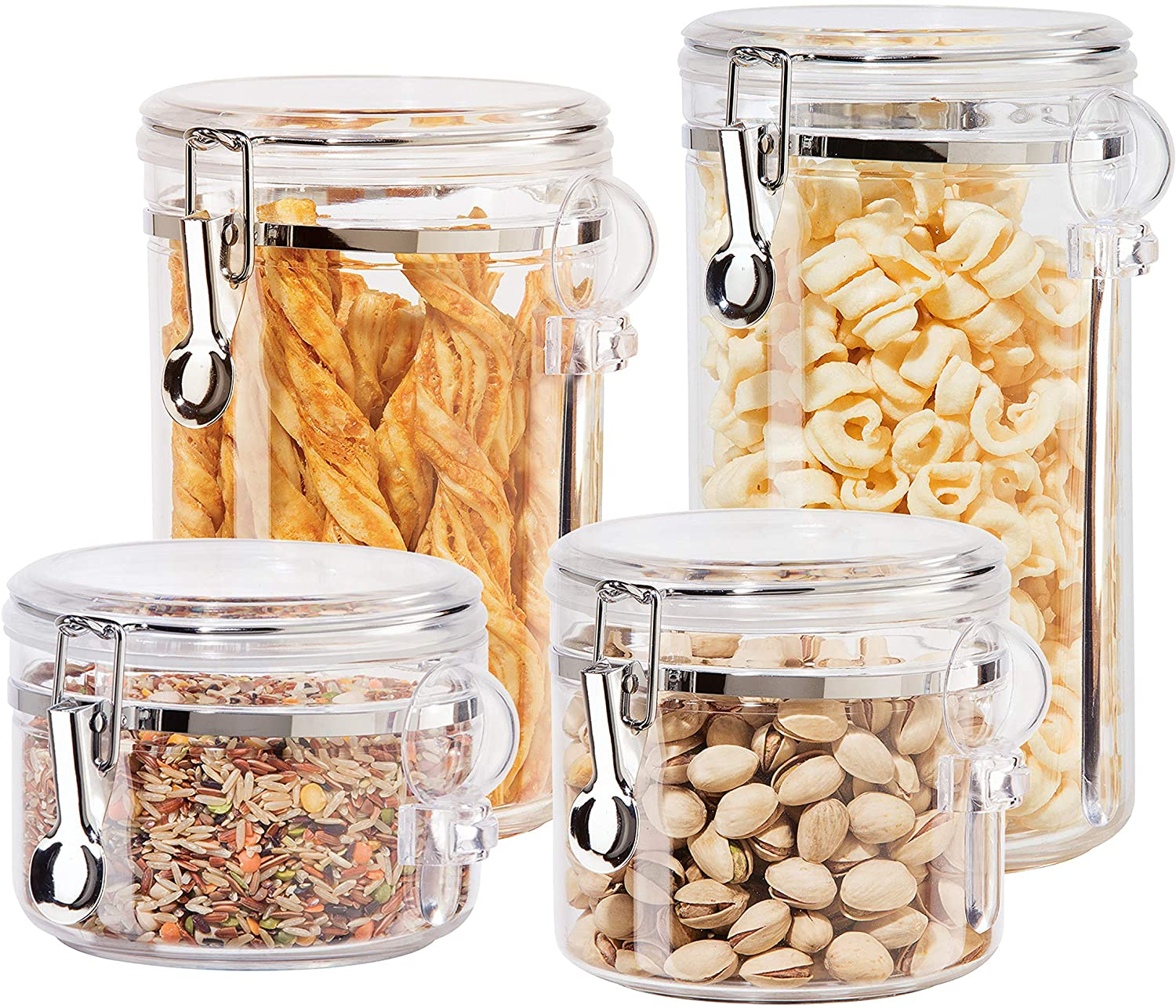Oggi 4pc Clear Canister Set with Co Lids Airtight Louisville-Jefferson County Mall Clamp Spoons Max 43% OFF