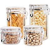 Oggi 5355 Airtight Food Containers 4 PC Clear Acrylic Canister Set-BPA-Free-Storage of Flour, Cereal, Pasta, Coffee, Rice & M