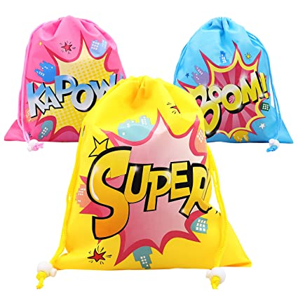Superhero Girl Drawstring Party Favor Bags 6 Pack Personalised Birthday Fabric Goodie