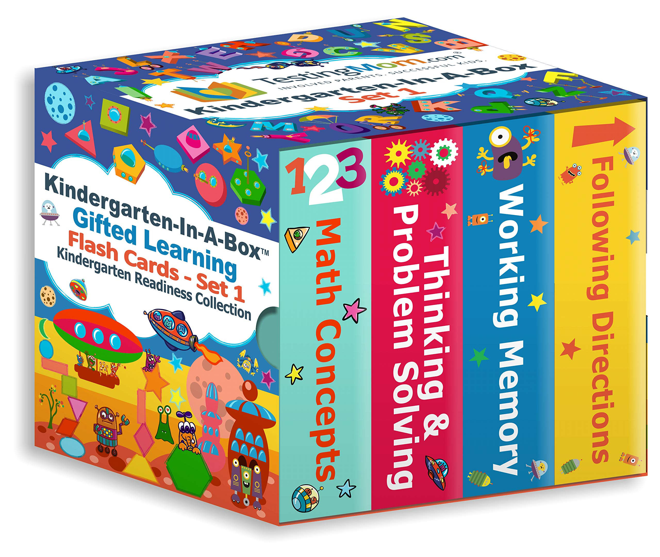 Gifted Learning Flash Cards Bundle - Kindergarten-in-A-Box - Math Concepts, Thinking & Problem Solving, Working Memory, Following Directions (Set 1) by TestingMom.com (Image #1)