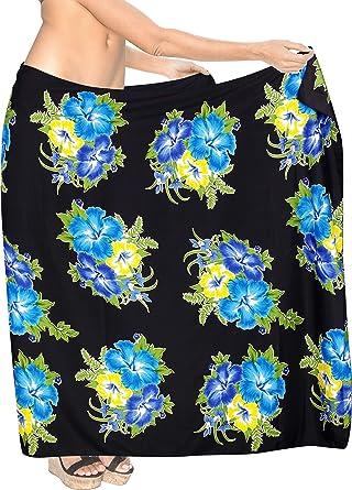 087c21c631 LA LEELA Soft Light Scarf Deal Long Dress Women Sarong Printed  72 quot X42 quot  Blue 3437