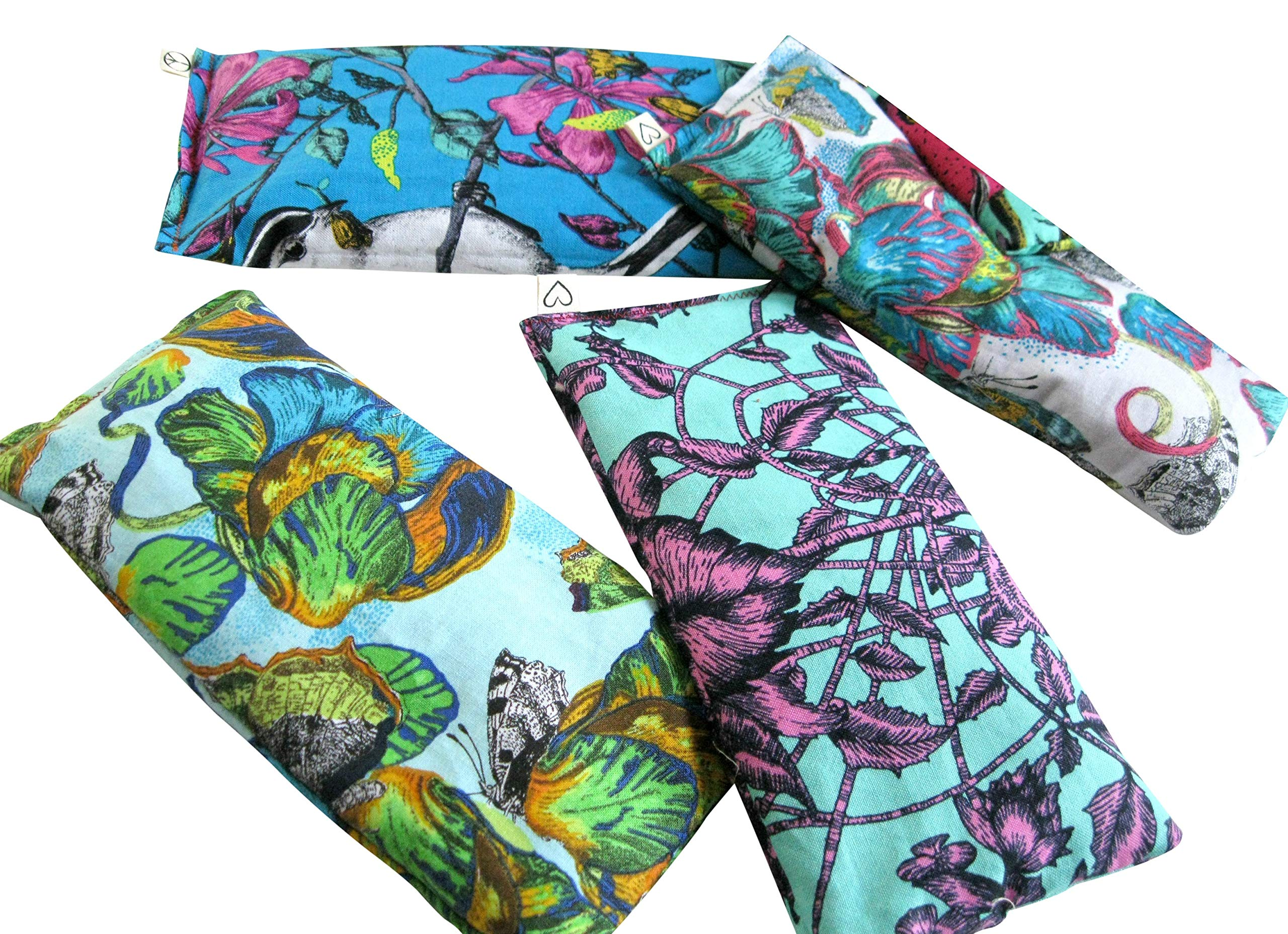 Scented Eye Pillows - Pack of (4) - Soft Cotton 4 x 8.5 - Lavender Flax Seed - Relax Soothe - yoga - tropical flowers palm leaves blue green pink fruit bird