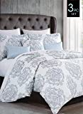 Cynthia Rowley Bedding 3 Piece Full / Queen Duvet Cover Set Floating Medallions in Shades of Blue Gray Silver on White
