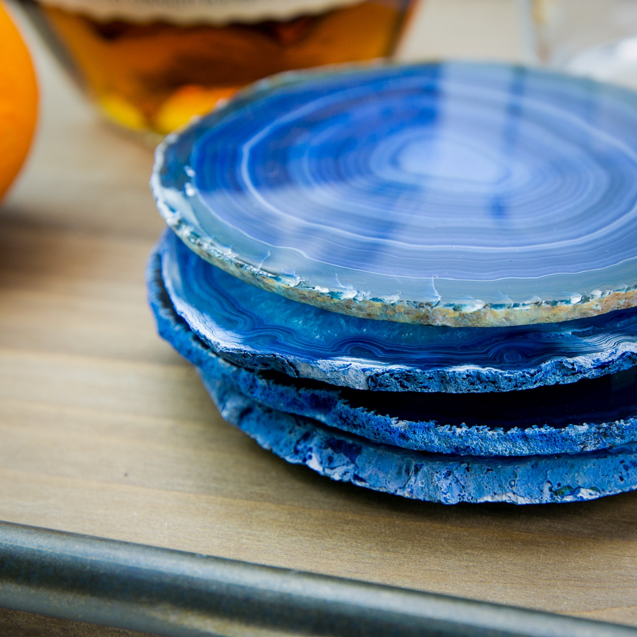 LARGE BLUE AGATE COASTERS Set of 4 Sliced Thick with Felt Bumper (4-5) | Authentic Handmade Brazilian coasters packaged in the USA by Babylon Agate (Image #4)