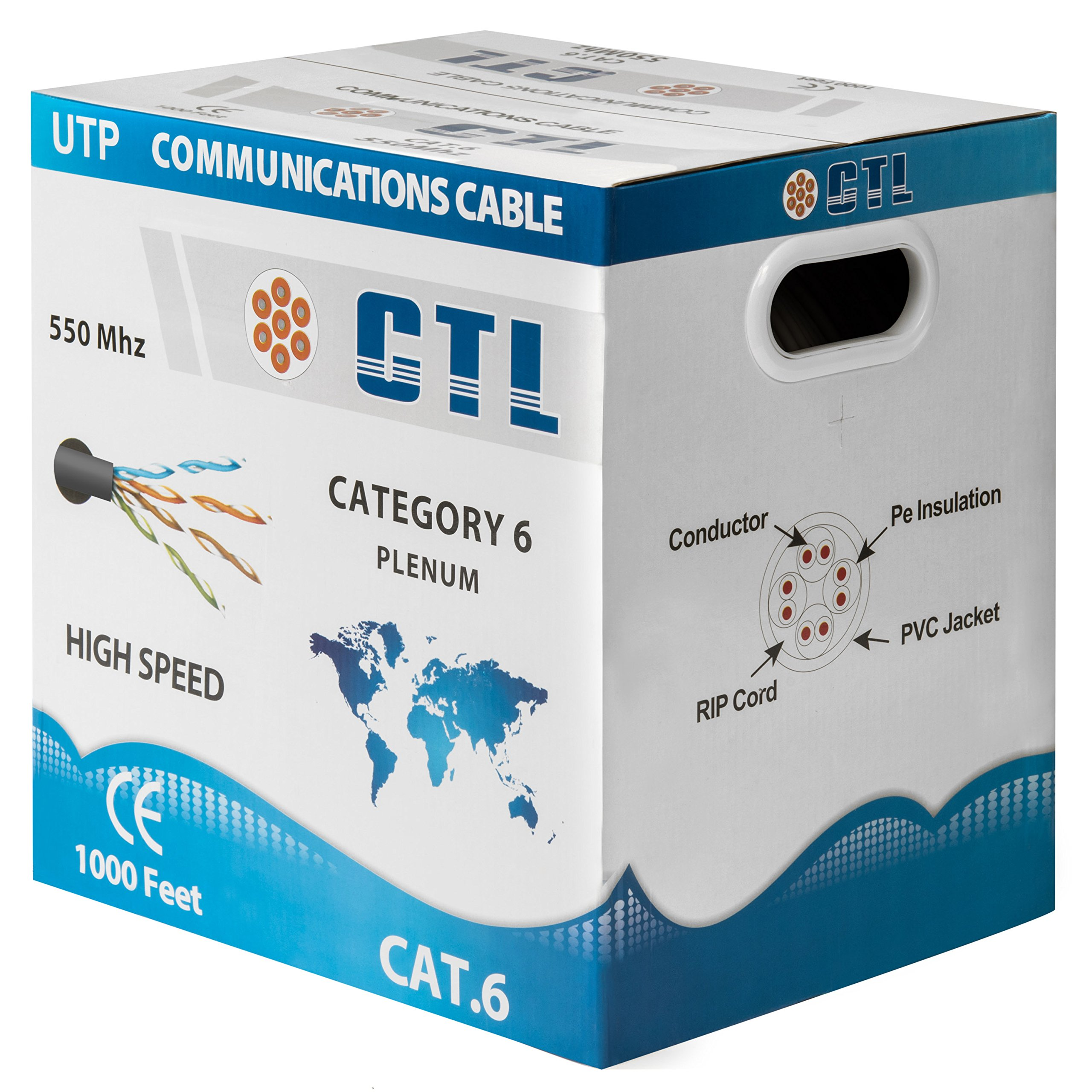 Cat6 Plenum Grey Professional Cable 550mhz 1000ft UTP Solid Bulk Cable {100% REAL PURE COPPER!} ( NOT CCA! ) { New Version V3 2017 } {Snagless Technology } by CTL