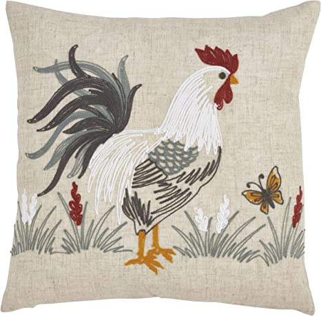Amazon Com Saro Lifestyle Collection Embroidered Rooster Throw Pillow With Down Filling 18 Natural Home Kitchen
