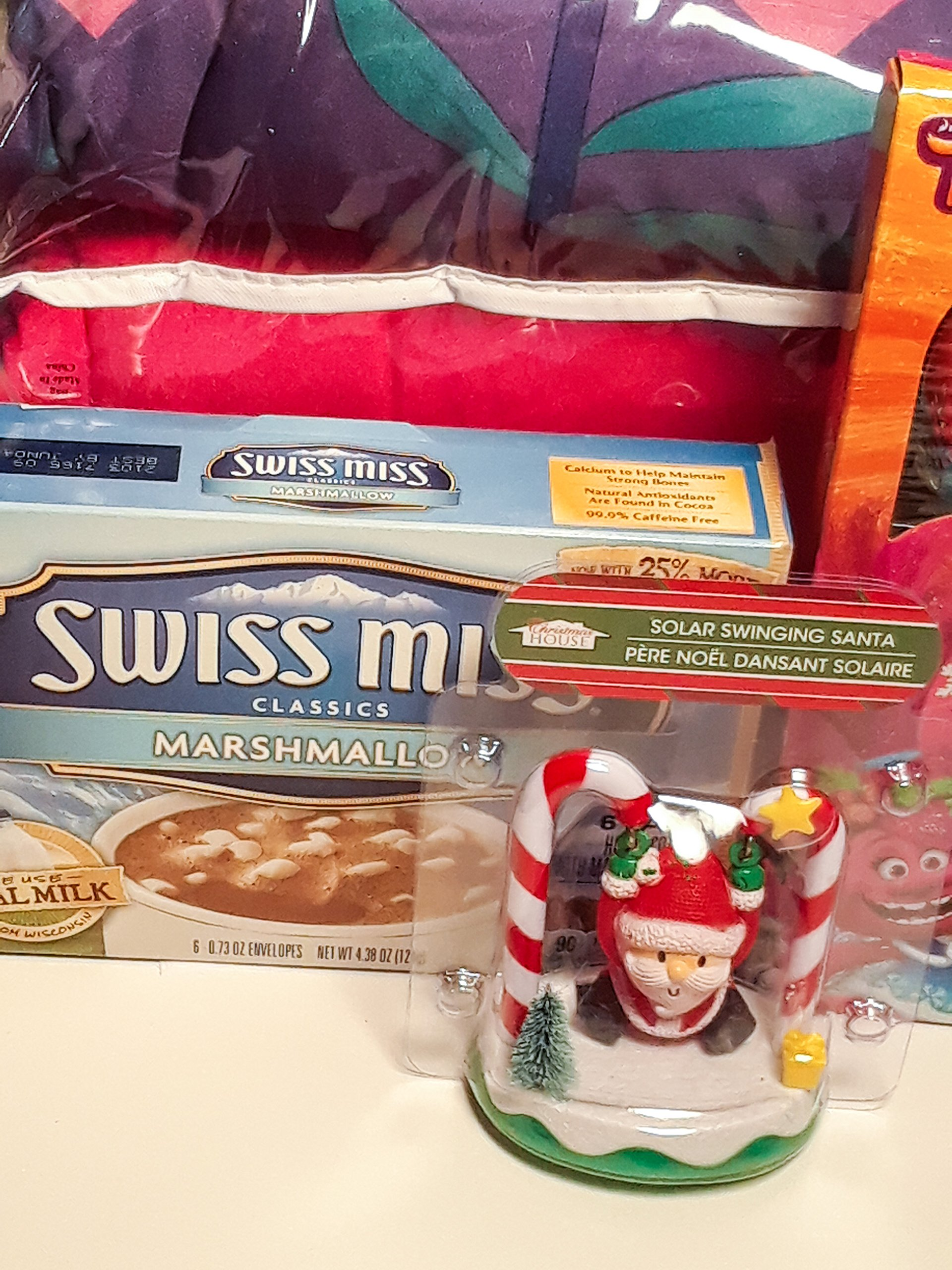 Swinging Solar Santa, Troll Candy Cane, a Box of Hot Chocolate with Marshmallows and Troll Comforter and Sheet Set Bundle Comforter Twin/Full, Sheets Twin