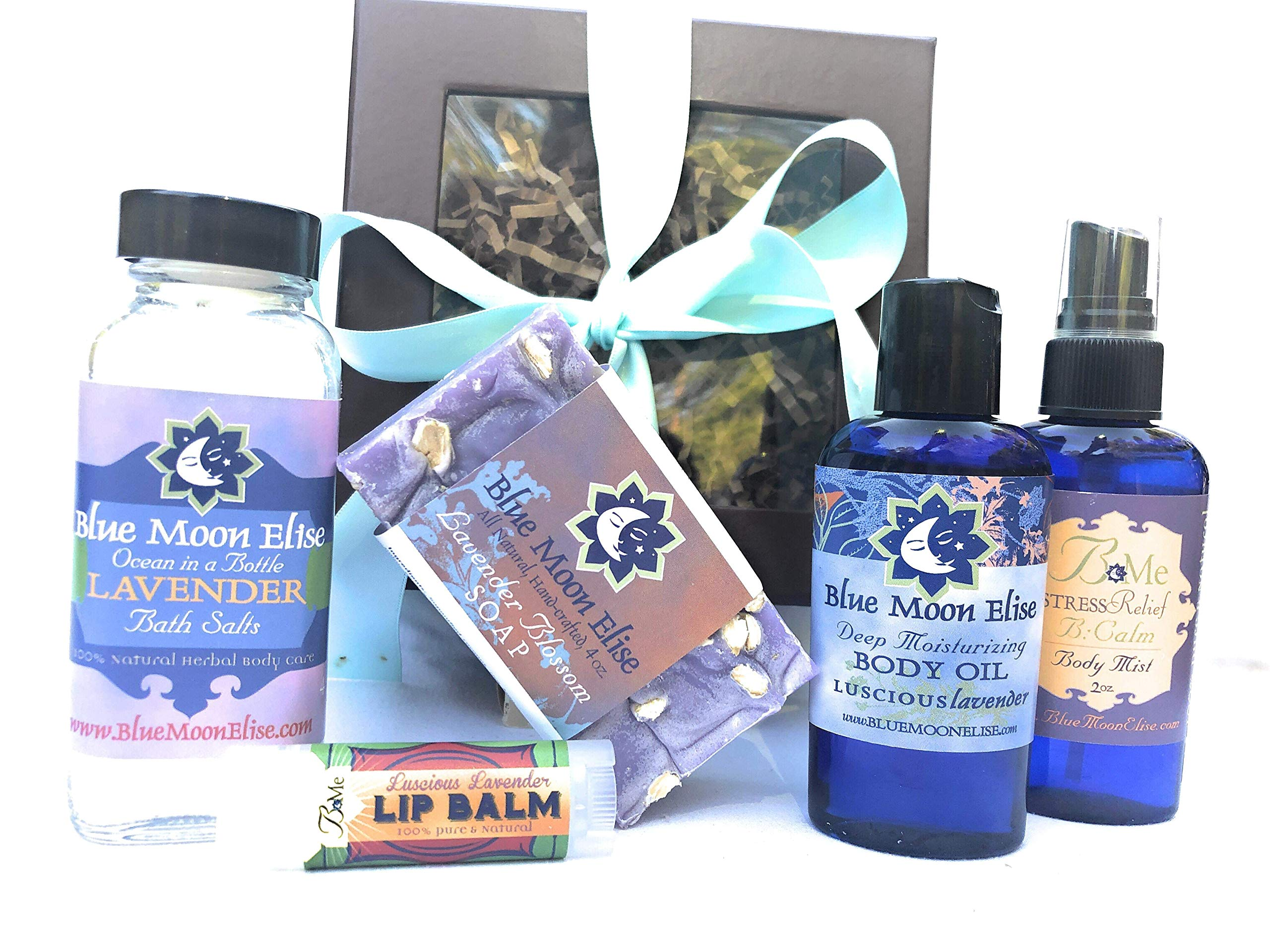 New Mom All Natural Body Care Gift Box| For Mama and Baby-Safe, relaxing and healing | Handmade Soap, Bath Salts, Body Oil, Body Mist, and Lip Balm with Lavender Essential Oil| Healthy Choice for Mom!
