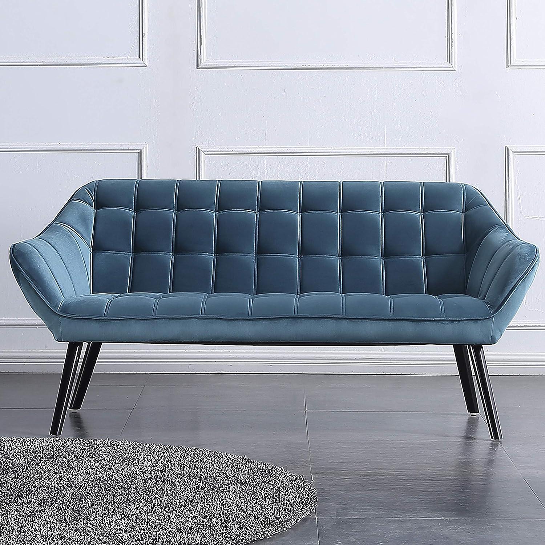 Adec - Olden, Sofá de Tres plazas, sillón de Descanso 3 Personas, Acabado en Tejido Color Velvet Azul, Patas de Madera Color Haya, Medidas: 175 cm ...