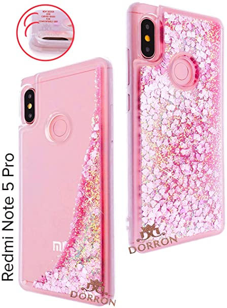 buy popular 78653 2ebfc DORRON Transparent Liquid Waterfall Soft Sides Fancy Back Case Cover for  Redmi Note 5 Pro (Pink_Floating Love Hearts)