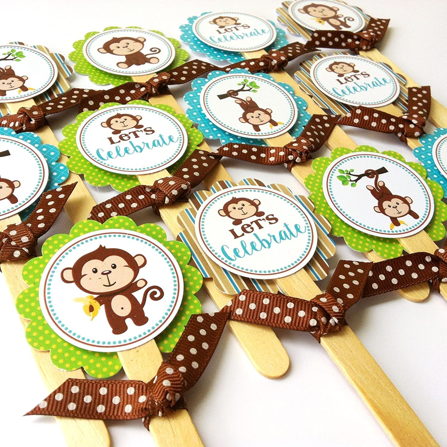 Monkey Cupcake Toppers - Let's Celebrate Baby Shower Birthday Party Cake Toppers - Set of 12