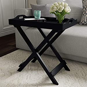 Lavish Home 80-FT-10 Decor Display and Home Accent Table with Removable Tray Top (Black),