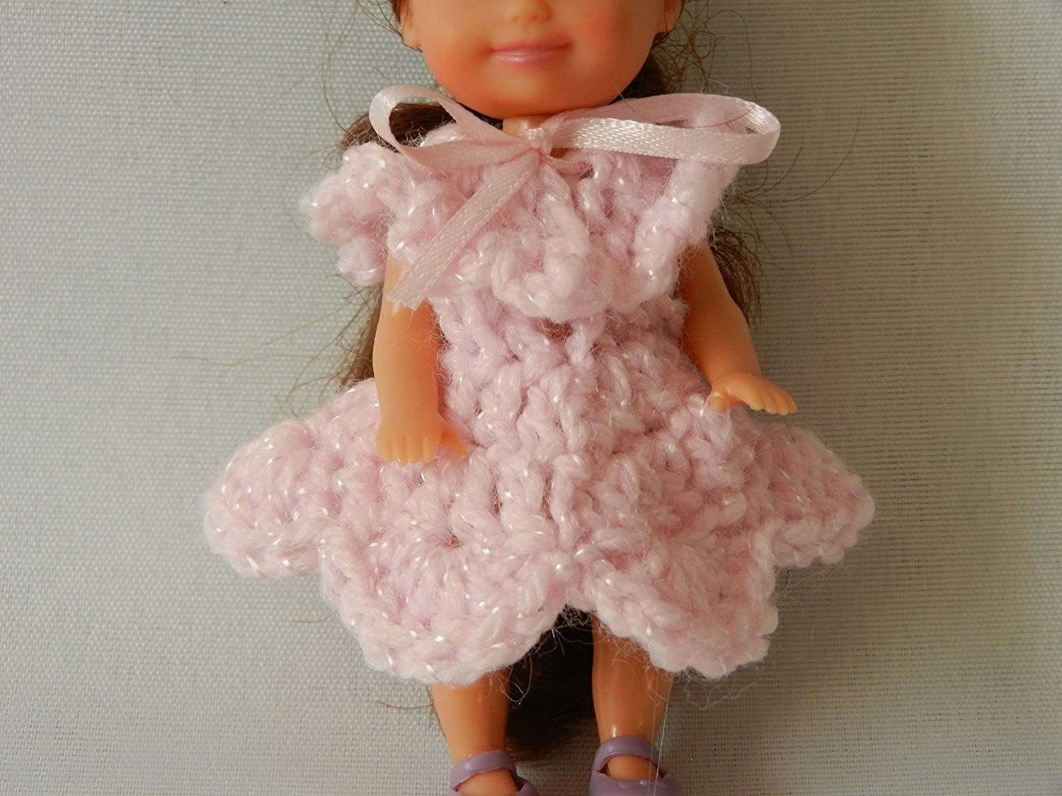Pink Doll Dress fits Baby Kelly from the Barbie family and other similar size dolls