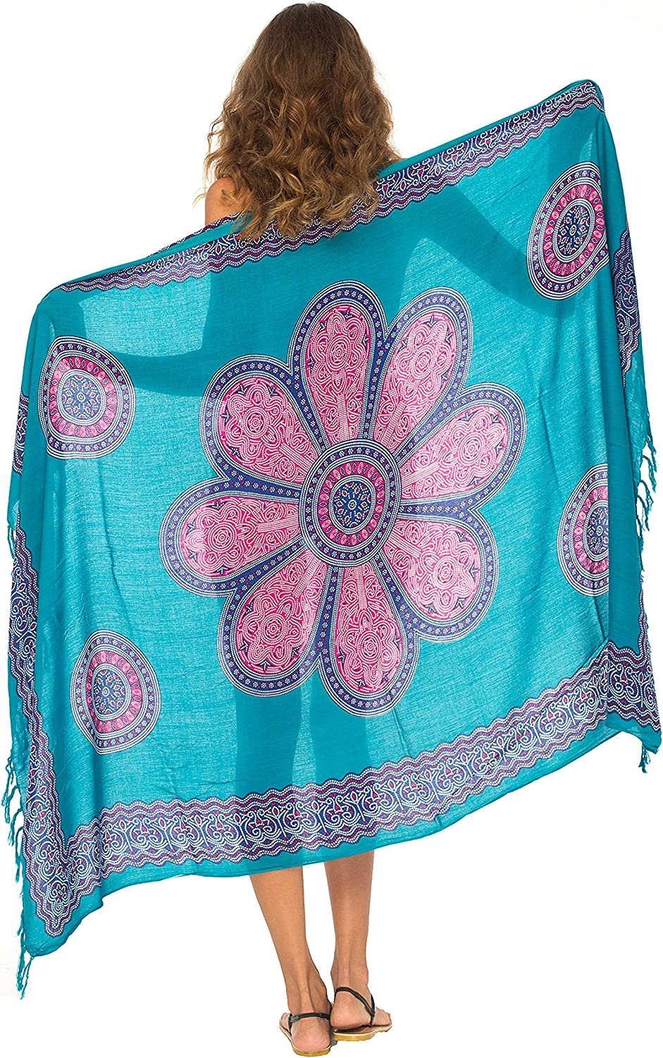 SHU-SHI Womens Beach Swimsuit Cover Up Flower Sarong Wrap with Coconut Clip