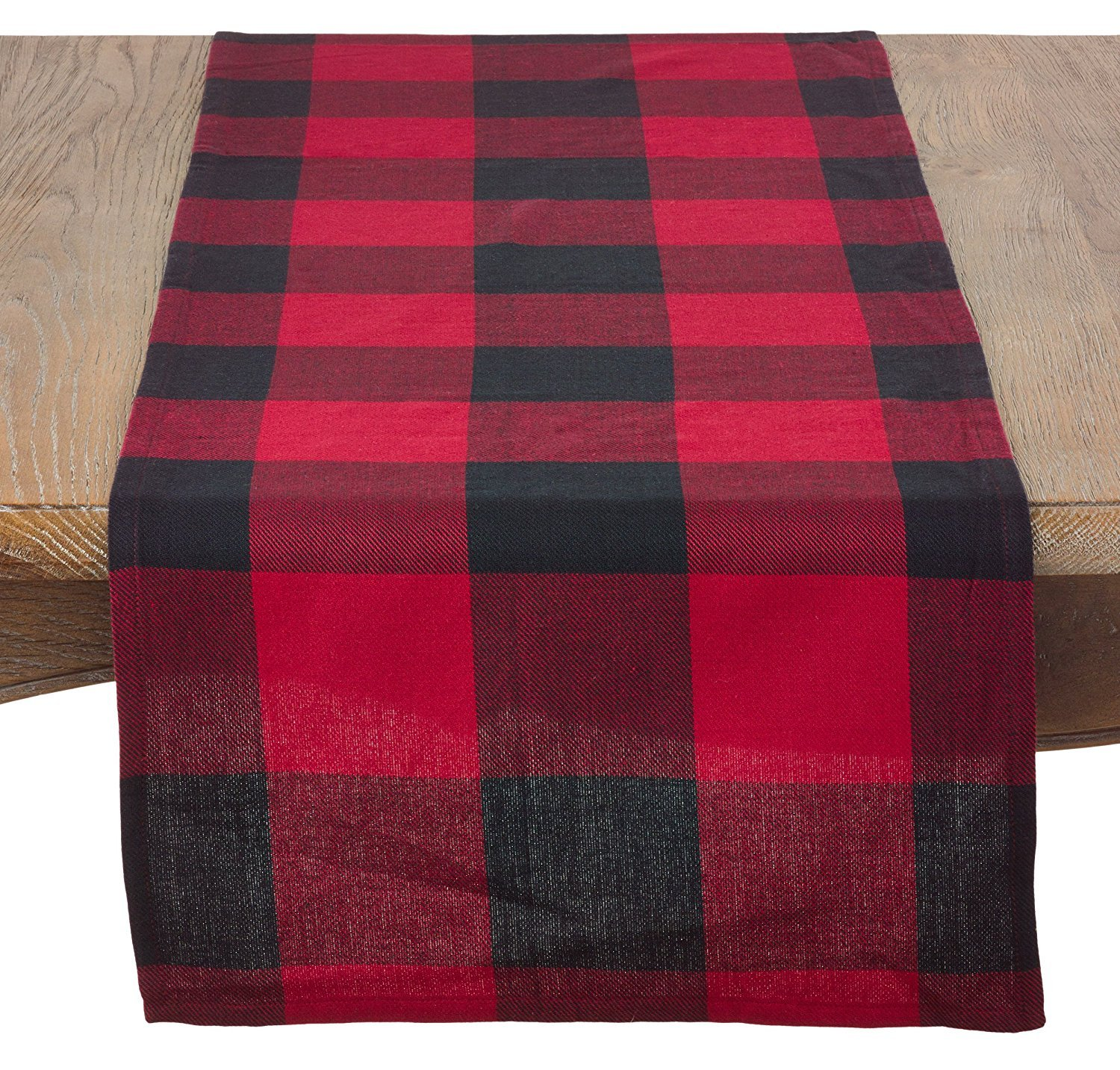 Fennco Styles Holiday Buffalo Check Plaid Design Cotton Table Runner (16''x120'' Table Runner, Red)