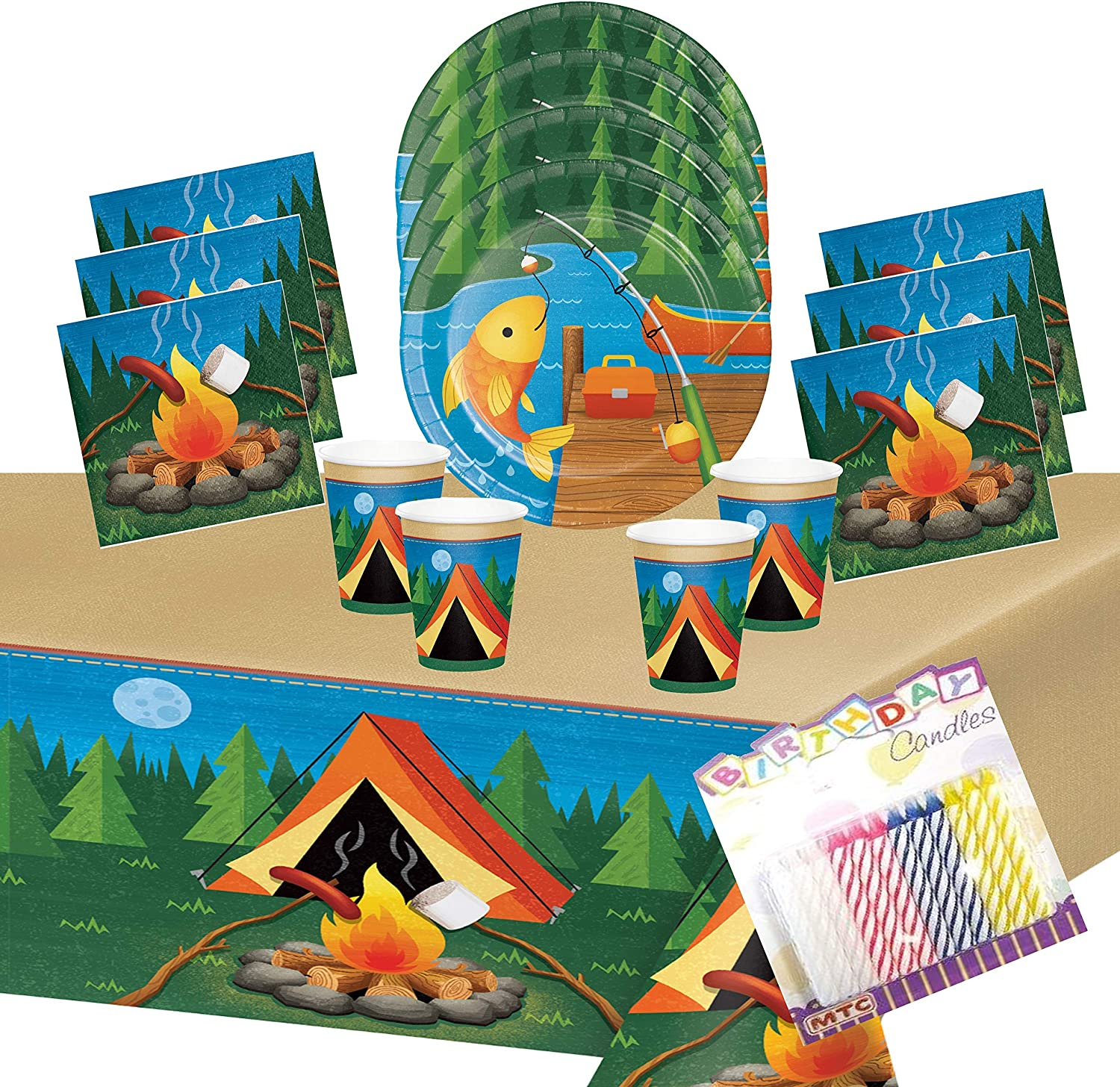Campout Birthday Party Supplies Plate and Napkin Set Serves up to 16 Guests