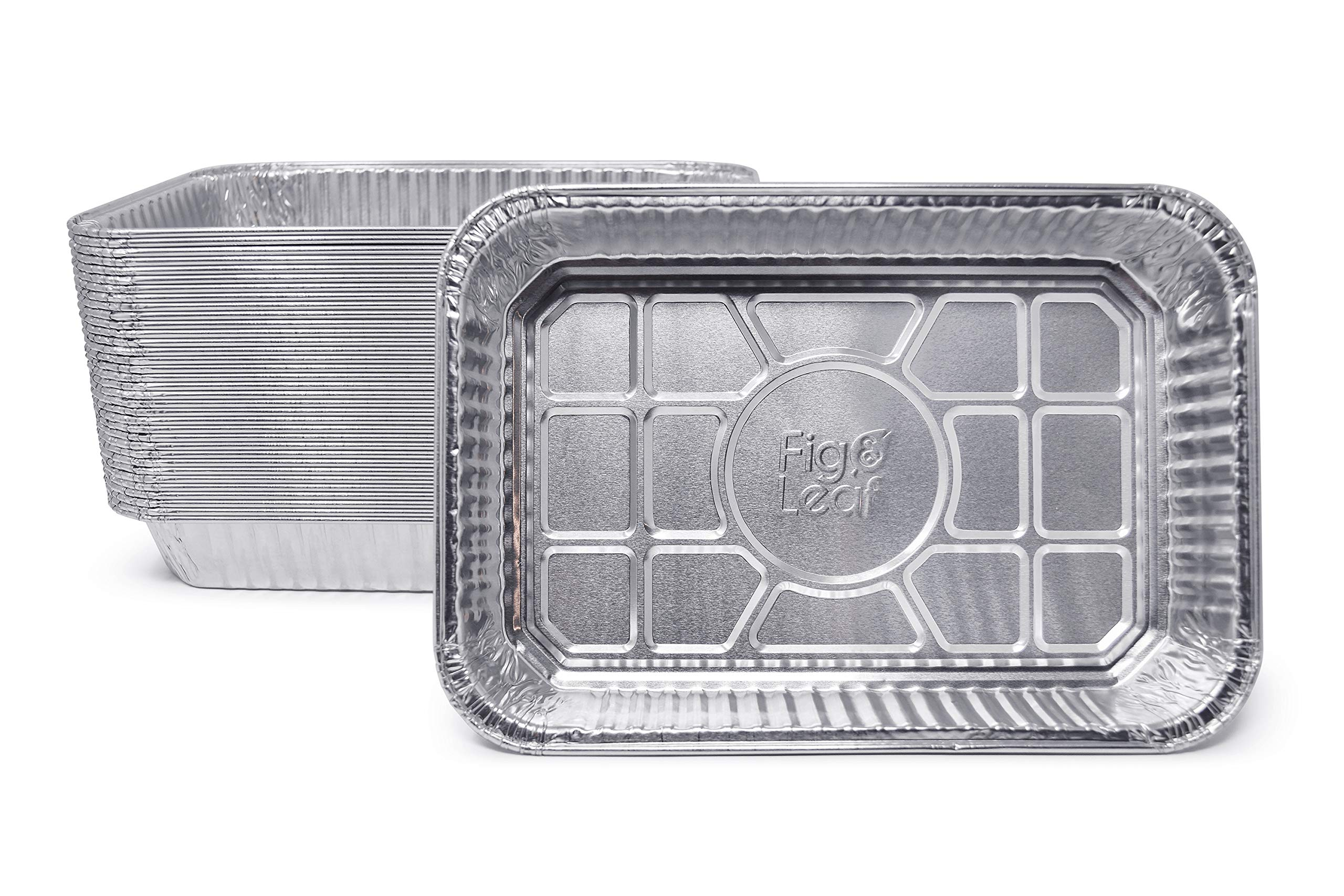 Fig & Leaf (35 Pack) Weber Grills Compatible 6415 Drip Pans l Size 7.5'' x 5'' x 1.7'' l Aluminum Foil l 32 Gauge l Fit for Weber Q Grills, Spirit Gas Grills, Genesis and Genesis II LX 200 300 Series by Fig & Leaf
