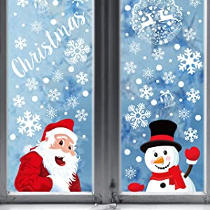 354PCS Christmas Snowflake Window Clings Decorations - Xmas Stickers Decals Ornaments
