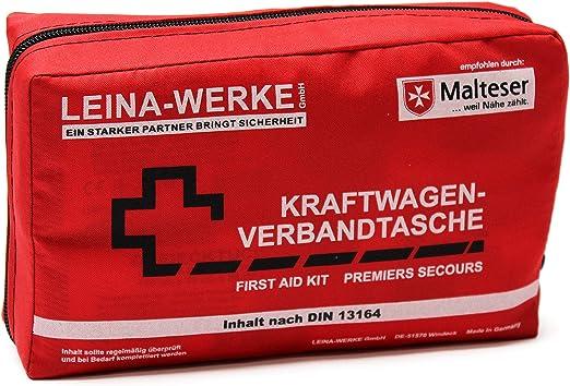 Leina Kfz Verbandtasche Compact Inhalt Din 13164 Rot Red Black White Print Set Of 10 Auto